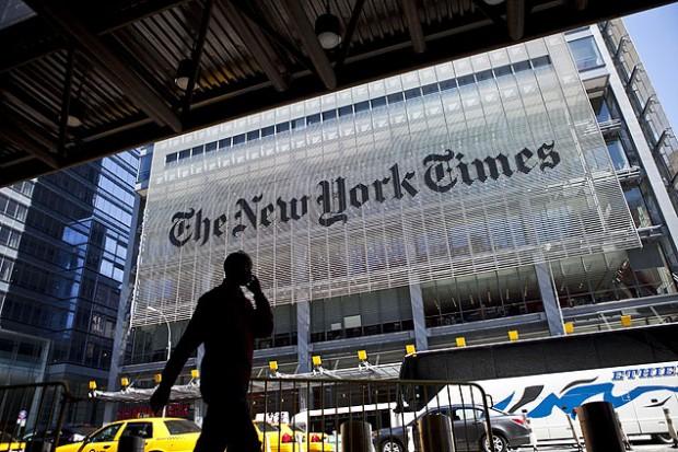 """Vista da fachada do prédio do jornal """"New York Times"""", em Nova York (EUA)"""