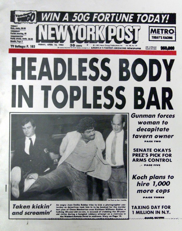 C0NFIRMED CPS  0004 CATEGORY: POST FRONT PAGES  New York Post front page with headline  HEADLESS BODY IN TOPLESS BAR. April 15, 1983.