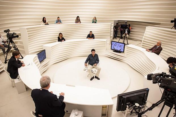 Gravação do programa Roda Viva da TV Cultura. (Crédito: Avener Prado/Folhapress)