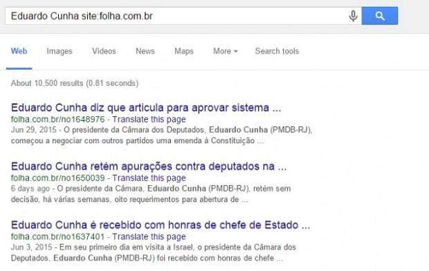 """Exemplo de uso do operador de pesquisa """"site:"""""""