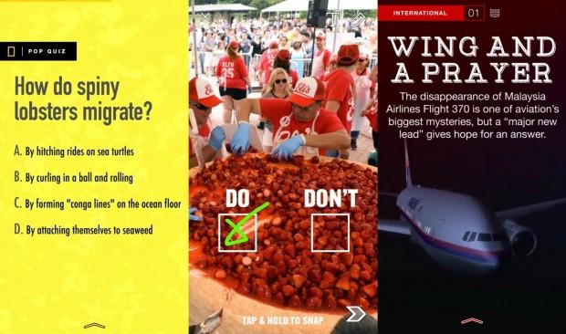 As imagens mostram, respectivamente: questionário lúdico no Snapchat do NatGeo; imagem interativa do canal do BuzzFeed; e notícia com animação da CNN. (Créditos: National Geographic/Reprodução; BuzzFeed/Reprodução; CNN/Reprodução)