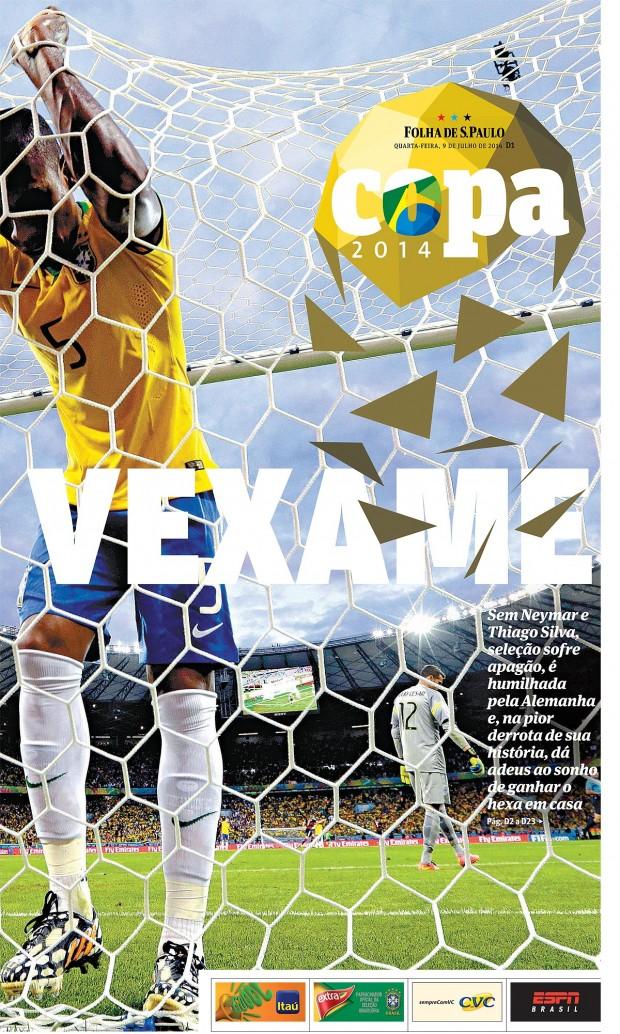 Capa de caderno especial publicado pela Folha durante a Copa do Mundo de 2014, premiado pela  Society for News Design
