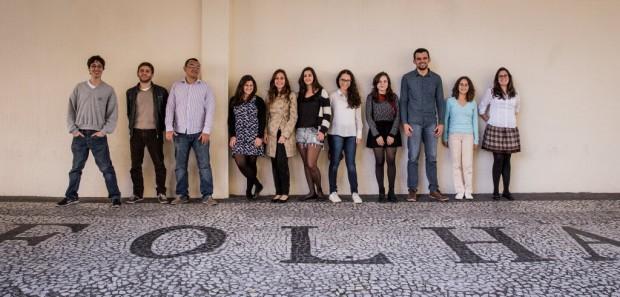 Os trainees da 3ª turma de Ciência e Saúde no prédio da Folha, em junho de 2015 (Foto: Eduardo Anizelli - 29.jun.2015/Folhapress)