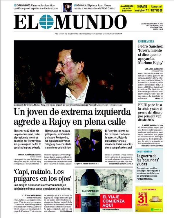 """Capa do jornal """"El Mundo"""" de 17 de dezembro de 2015 (Foto: Reprodução/Facebook)"""