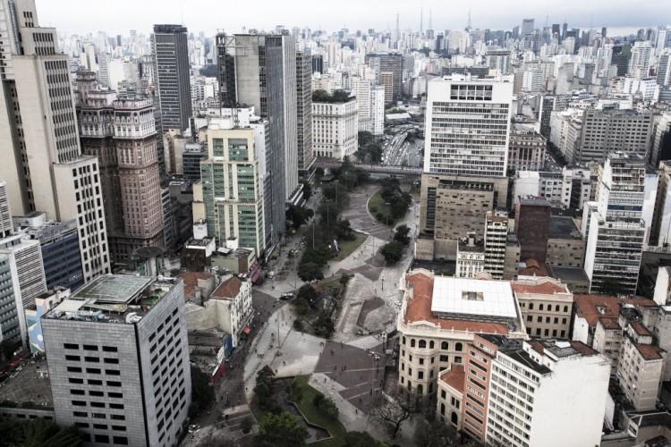 Vista aérea do Vale do Anhangabaú, no centro de São Paulo.