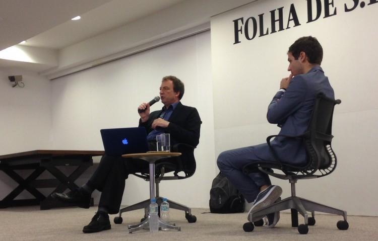 O jornalista britânico Misha Glenny (esq.) e o mediador, Marco Aurélio Canônico